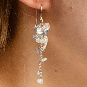 Nico Taeymans verzilverde oorbellen aquamarijn en bergkristal