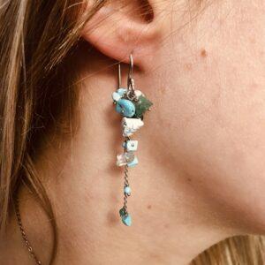 Nico Taeymans verzilverde oorbellen turquoise