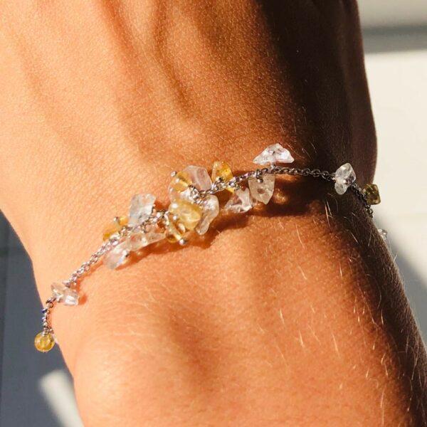 Nico Taeymans verzilverde armband met citrien en bergkristal