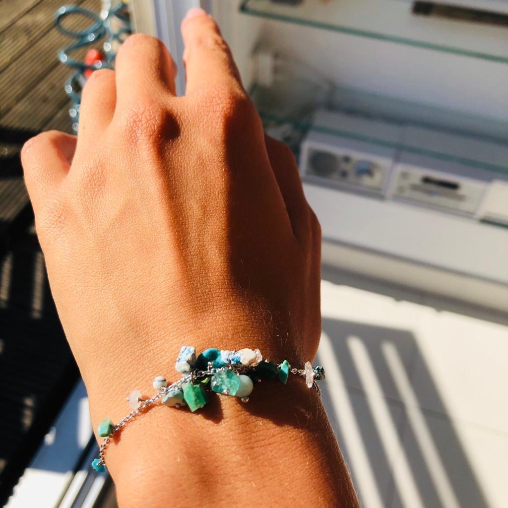 Nico Taeymans verzilverde armband met turquoise