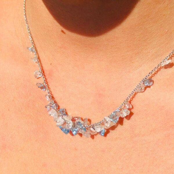 Nico Taeymans verzilverde collier met bergkristal en aquamarijn