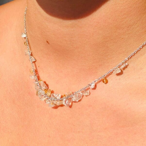 Nico Taeymans verzilverde collier met bergkristal en citrien
