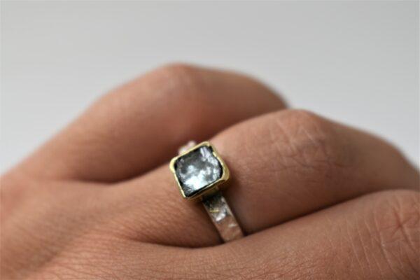 zilveren ring met aquamarijn