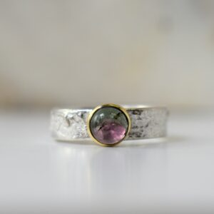 ring in zilver en goud met watermeloen toermalijn