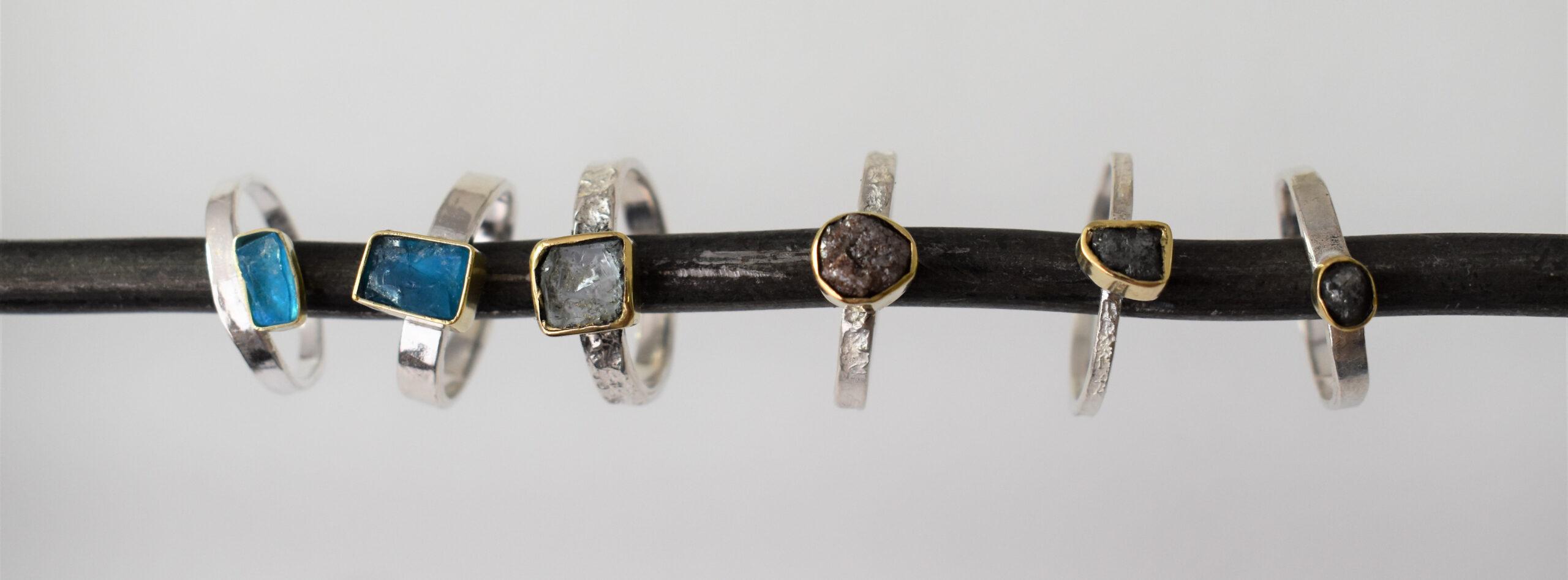 Crete collectie zilver en gouden ringen edelstenen en diamant